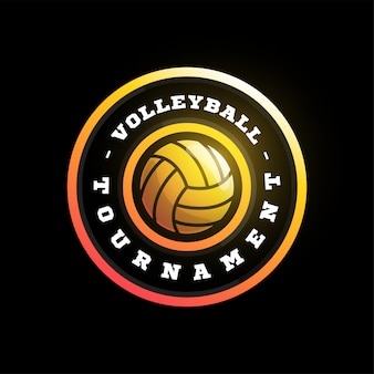 Volleyball circular  logo. modern professional typography sport retro style  emblem and template logotype design. volleyball colorful logo