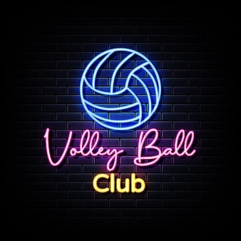 Volleyball club neon sign on black wall