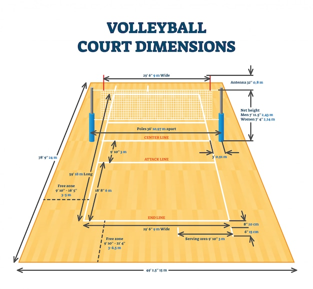 Volleyball court dimensions size guide,  illustration layout scheme