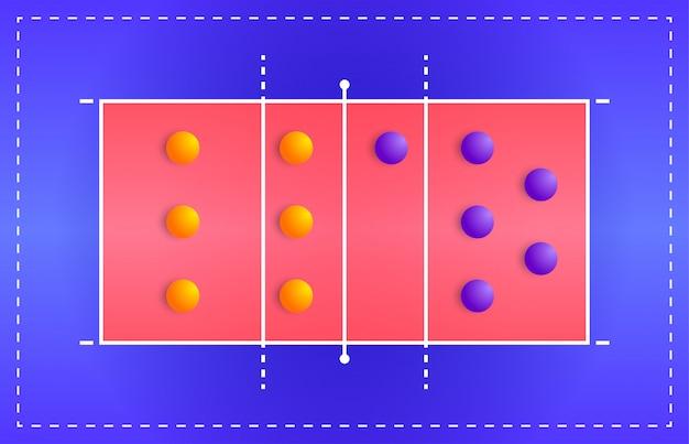 遊び場での2つのチームのプレーヤーの配置の戦術的なスキーム、ファンタジーリーグのコーチボードのゲーム図の計画を備えたバレーボールコート
