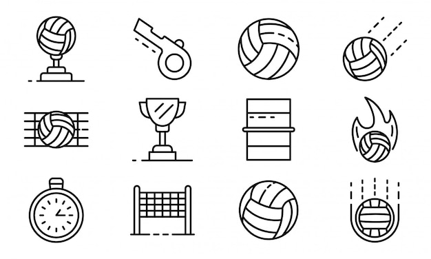 Volleyball icons set, outline style