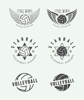 Volleyball labels, emblems