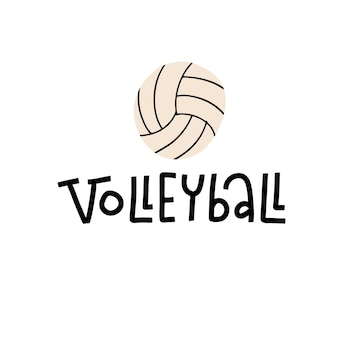 Volleyball lettering text on white background with ball sport fitness activity symbol concept callig...