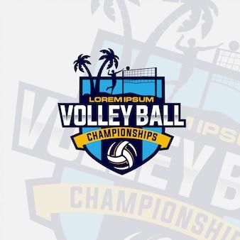 Volleyball logo design vector premium