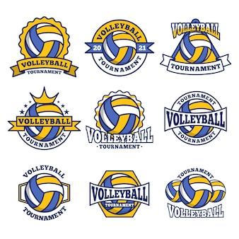 バレーボールのロゴ、エンブレム、バッジセットのコレクション、白い背景で隔離のデザインテンプレート
