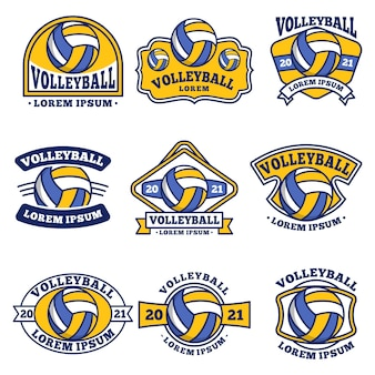 Volleyball logo, emblem, badge set collections, designs templates isolated on white background