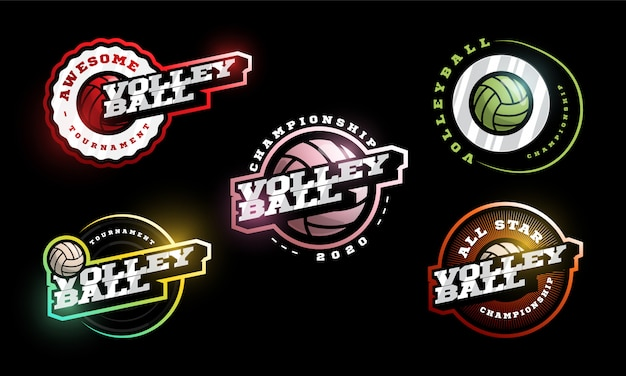 Volleyball logo set.