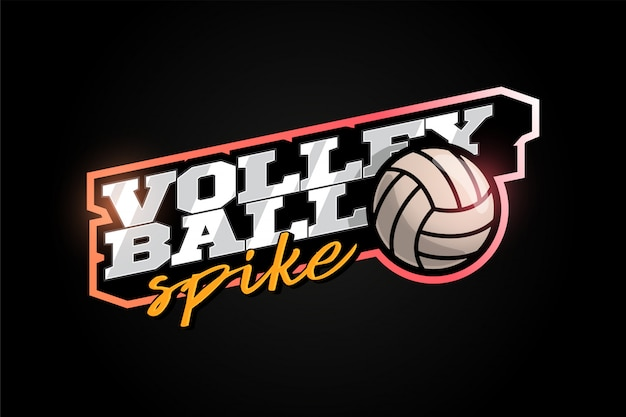 Volleyball mascot modern professional sport typography in retro style.