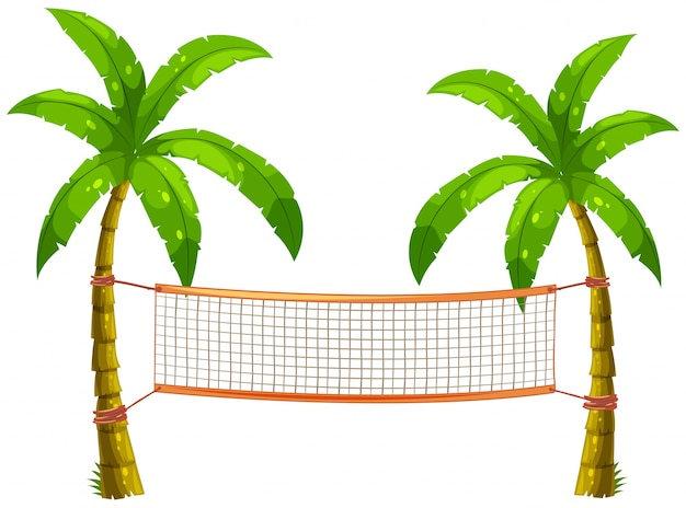 Volleyball net on coconut trees Premium Vector