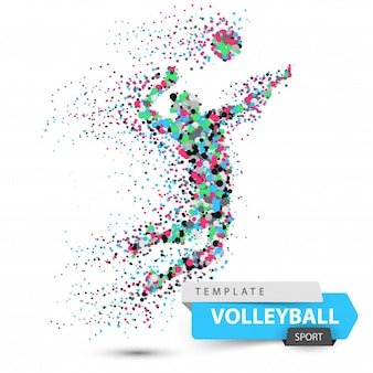 Volleyball player. dot game illustration. vector eps 10