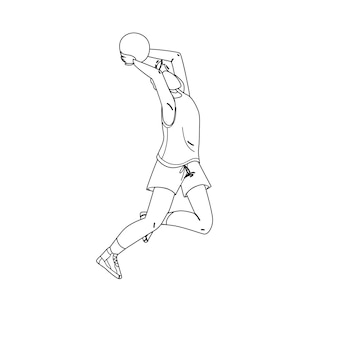 Volleyball player jump and throwing ball black line pencil drawing vector. sportsman playing volleyball sport game. character athlete man make exercise training, sportive active time illustration