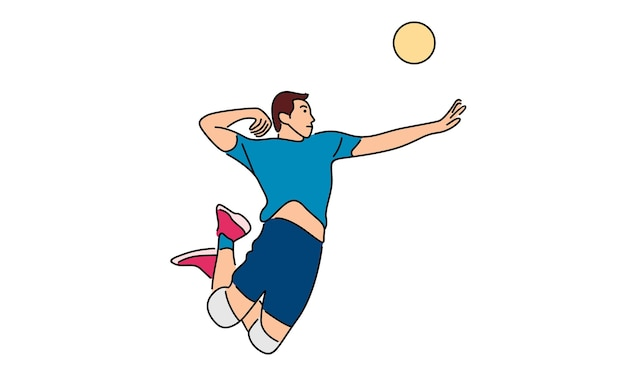 Volleyball player serving the ball