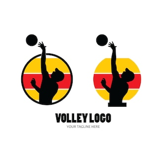 Volleyball player silhouette set