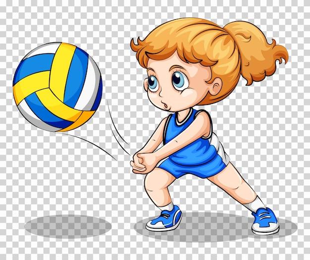 Volleyball player on transparent