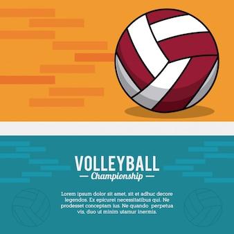 Volleyball sport ball championship postcard Premium Vector
