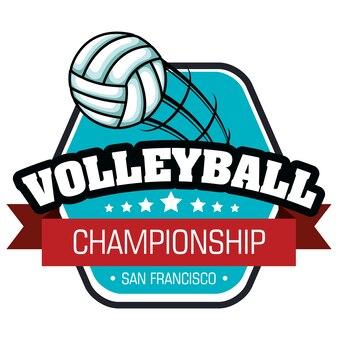 Волейбол спортивный мяч эмблема векторная иллюстрация дизайн