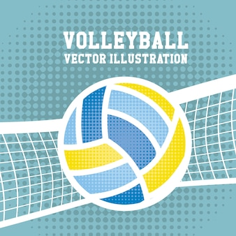 Volleyball sport over dotted background vector illustration