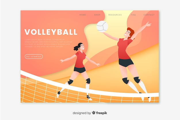 Volleyball sport landing page