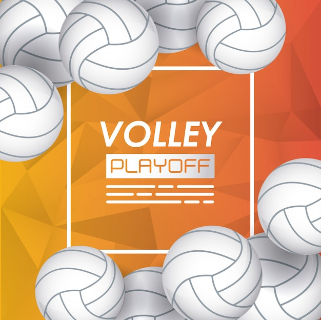Volleyball sport poster with balloons