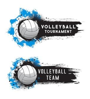 Volleyball sport tournament banner with grunge halftone