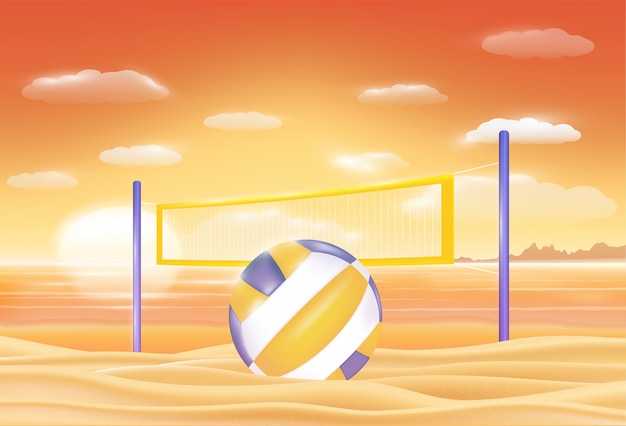 Volleyball on a sunset sea sand beach Premium Vector