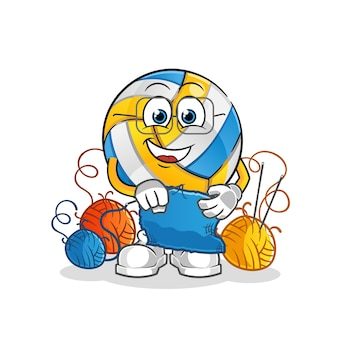 Volleyball tailor mascot. cartoon