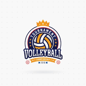Volleyball tournament logo with crown