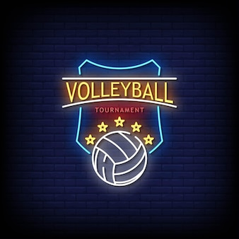 Volleyball tournament neon signs style text .