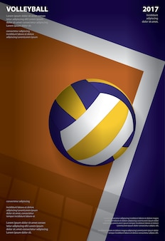 Volleyball tournament poster template  illustration