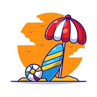 夏の漫画フラットイラストでサーフィンボードと傘とバレーボール。