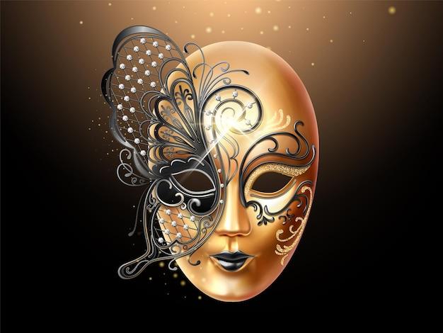 다이아몬드와 나비 레이스로 장식 된 볼토 마스크. 파티 또는 카니발, 가장 무도회 및 휴일 축하를위한 얼굴 덮개 디자인. 남자와 여자 가면극. 이탈리아어 또는 베네치아 마디 그라 테마