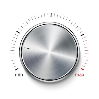 볼륨 버튼 금속 질감 강철 크롬입니다. 음악 노브 사운드 레벨. 사운드 패널 튜너 인터페이스.