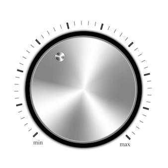 音量ボタン、金属製の音楽ノブ。