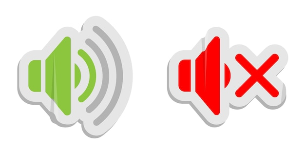 Volume control paper icons. media control buttons sound and sound off