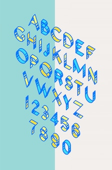Volume font, tape. vector. linear, thin, contour letters. latin font.