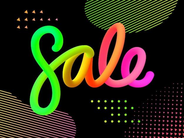 Объемные градиентные фигуры продажа. яркие цветные продажи надписи концепция. модные футуристические дизайнерские постеры. векторная иллюстрация