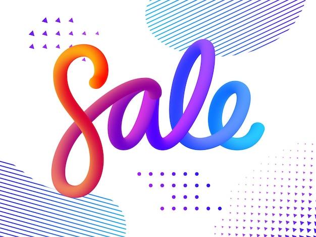 Объемные градиентные фигуры продажа. яркие цветные продажи надписи концепция