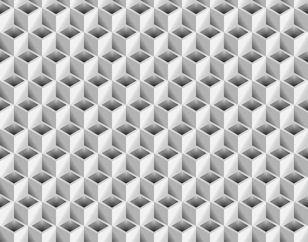 Volume realistic texture, gray 3d cubes squares geometric seamless pattern