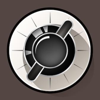 Volume settings, sound control knob on light chocolate background , retro volume control, vector illustration
