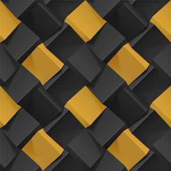 Объемная абстрактная текстура с черными и золотыми кубиками. реалистичный геометрический узор бесшовные для фона, обоев, текстиля, ткани и оберточной бумаги. фотореалистичная иллюстрация.