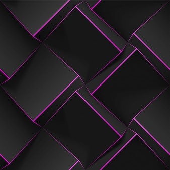 Volumetric abstract texture with black cubes with thin pink lines. realistic geometric seamless pattern for backgrounds, wallpaper, textile, fabric and wrapping paper.  realistic template.