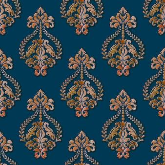 ボリュームダマスクシームレスパターンの背景。