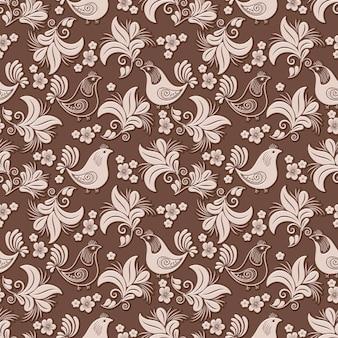 Volumetric flower, bird seamless pattern background.