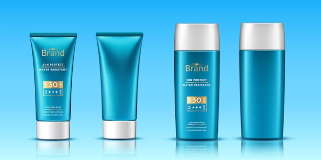 Volumetric tubes with sunscreen cream or realistic d plastic container as packaging template