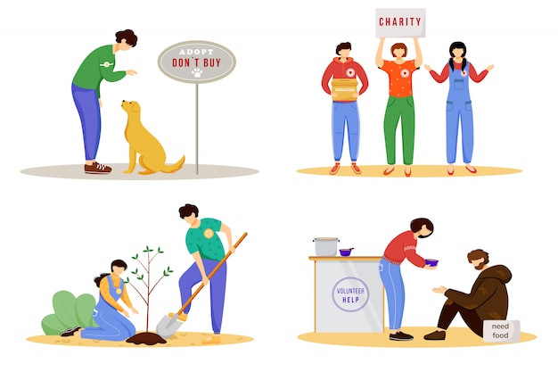 Voluntary activities flat illustrations set. young volunteers, social activists isolated cartoon characters. animal adoption, charity donation, environment protection and feeding homeless