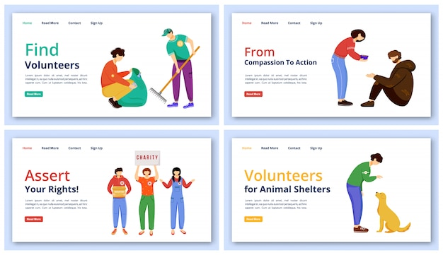 Voluntary activities landing page  templates set. charity website interface idea with  illustrations. social care and support homepage layout. volunteer work web  cartoon concept
