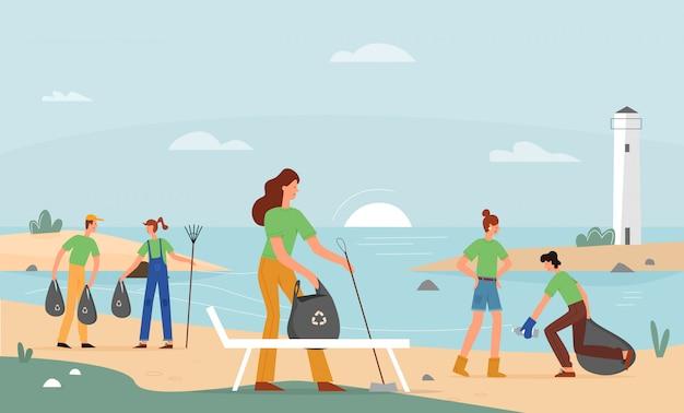 ボランティア活動、ビーチごみ収集イラスト