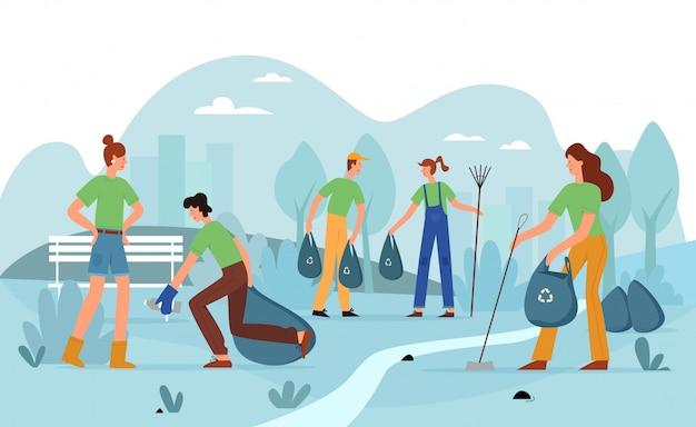 Добровольческая деятельность, городской парк мусора иллюстрации. волонтеры, молодежь с метлами и мусорными мешками персонажей. экологическая очистка, волонтерская концепция