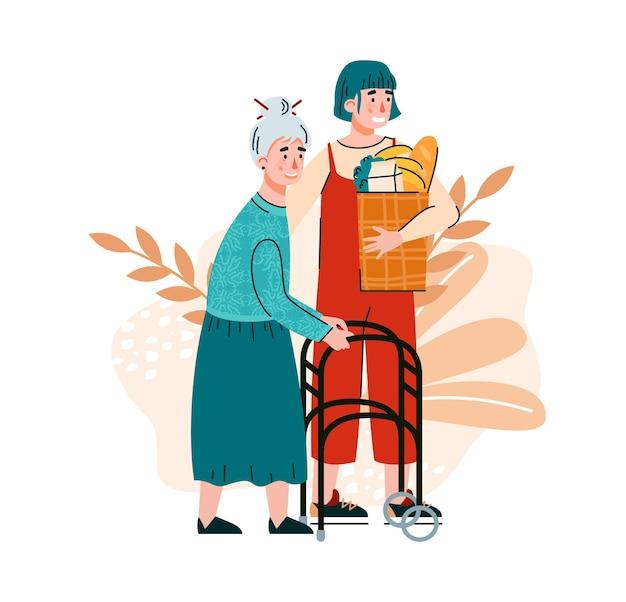 Волонтер и старушка на декоративном фоне, изолированы плоские.