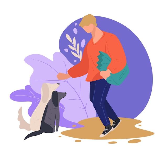 Волонтерская забота о бездомных собаках, кормящих едой, изолированном мужском персонаже и собаках в приюте